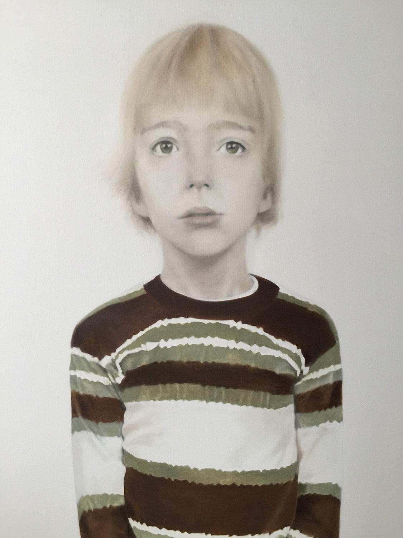 "Deborah Martin Eddie at Five, 2017 Oil on canvas 42x54"""