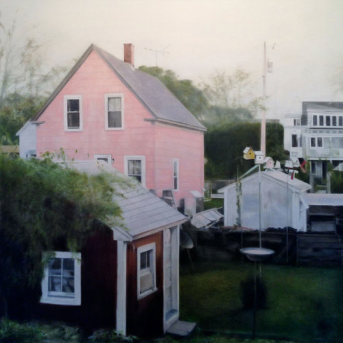 """The 2013 oil on canvas """"Pink"""" is one of Deborah Martin's """"Narrow Lands"""" landscapes from a previous series. [PHOTO KOBALT GALLERY]"""