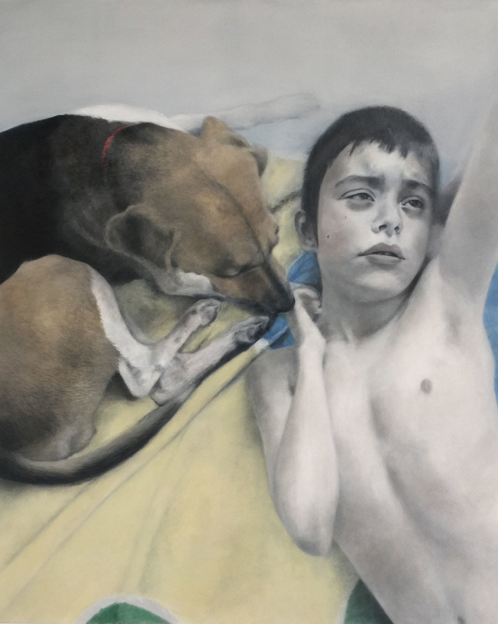 Deborah Martin, Buhdda at Ten with Service Dog Mouse, 2017 Oil on canvas 42x52""