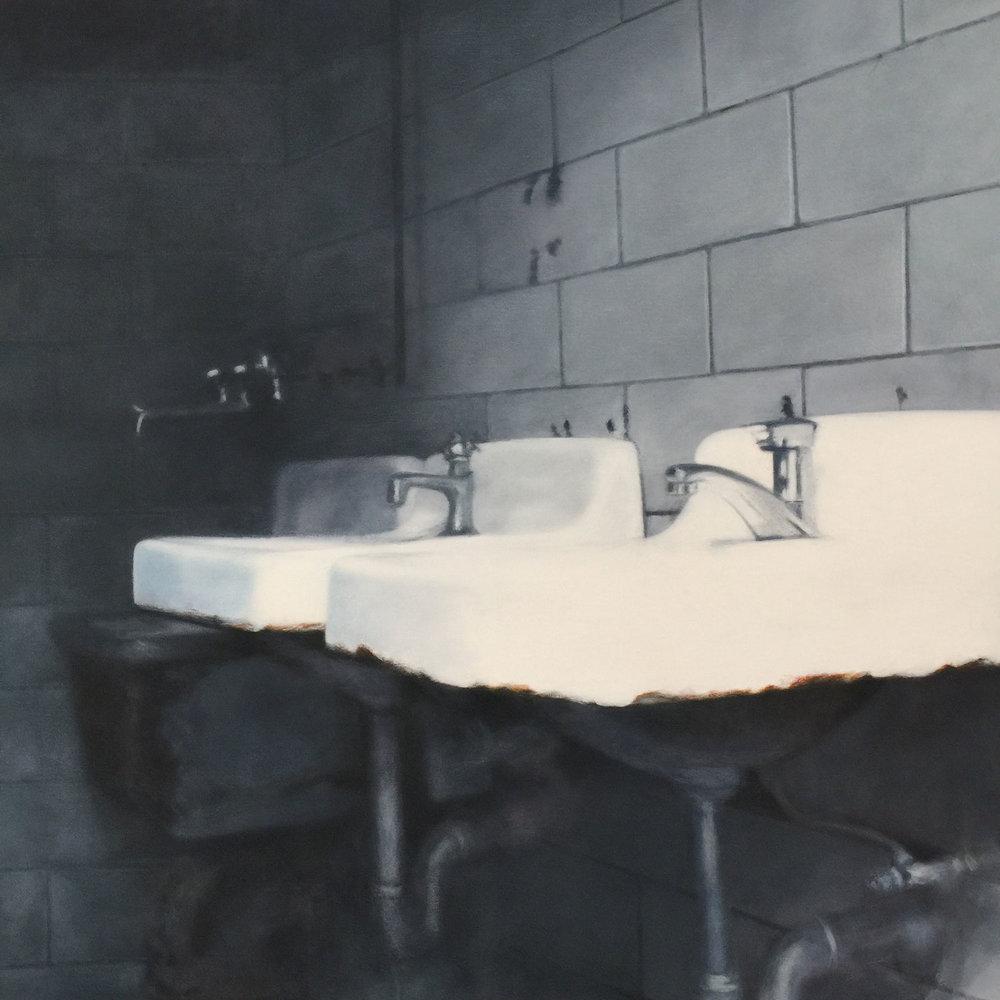 "Deborah Martin, The Sinks, 2018 Oil on canvas 32x32"""