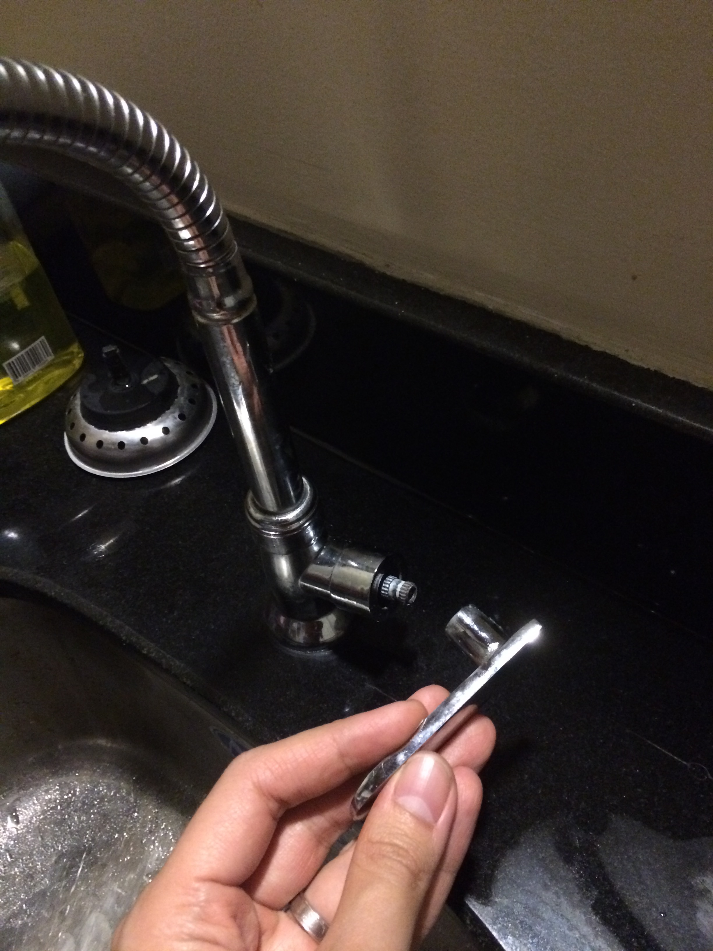 Our dirty kitchen's faucet handle broke off. Serves me right for getting a cheap one to save on a few bucks!