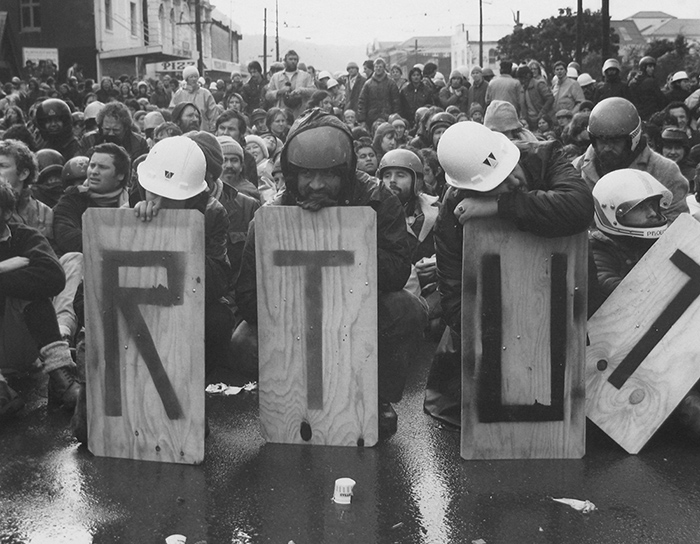 Ans Westra  Anti Springbok Tour Demonstration, Wellington , 1981  Silver gelatin print 185 x 235 mm   _______