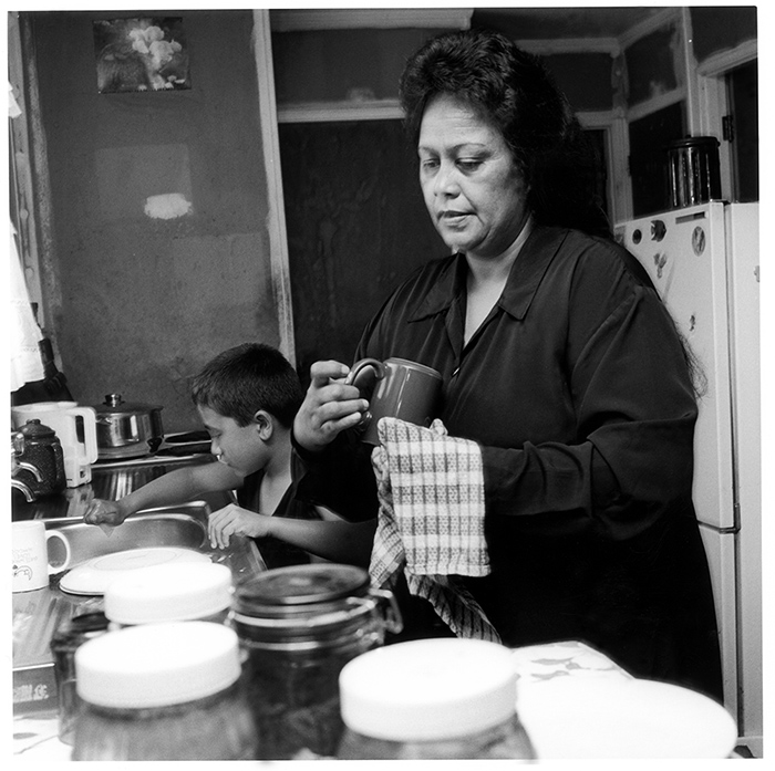 Ans Westra  Paengaroa, Te Puke, 1998, from 'Washday at the Pa Revisited'  Silver gelatin print 280 x 280 mm   _______
