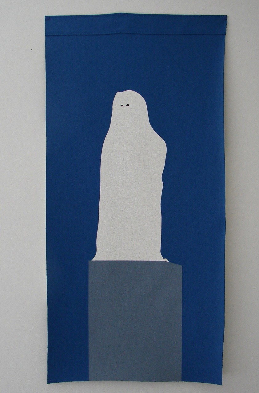 Wayne Youle  The Cloak of Coolness and Cunning, 2012 Acrylic on un-stretched canvas 900 x 450 mm [Private collection]  _______