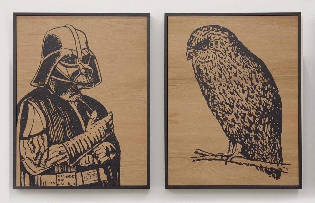 Wayne Youle  Dark Side of the Night, 2012 Fluid acrylic on rimu (diptych) 590 x 450 mm each  _______