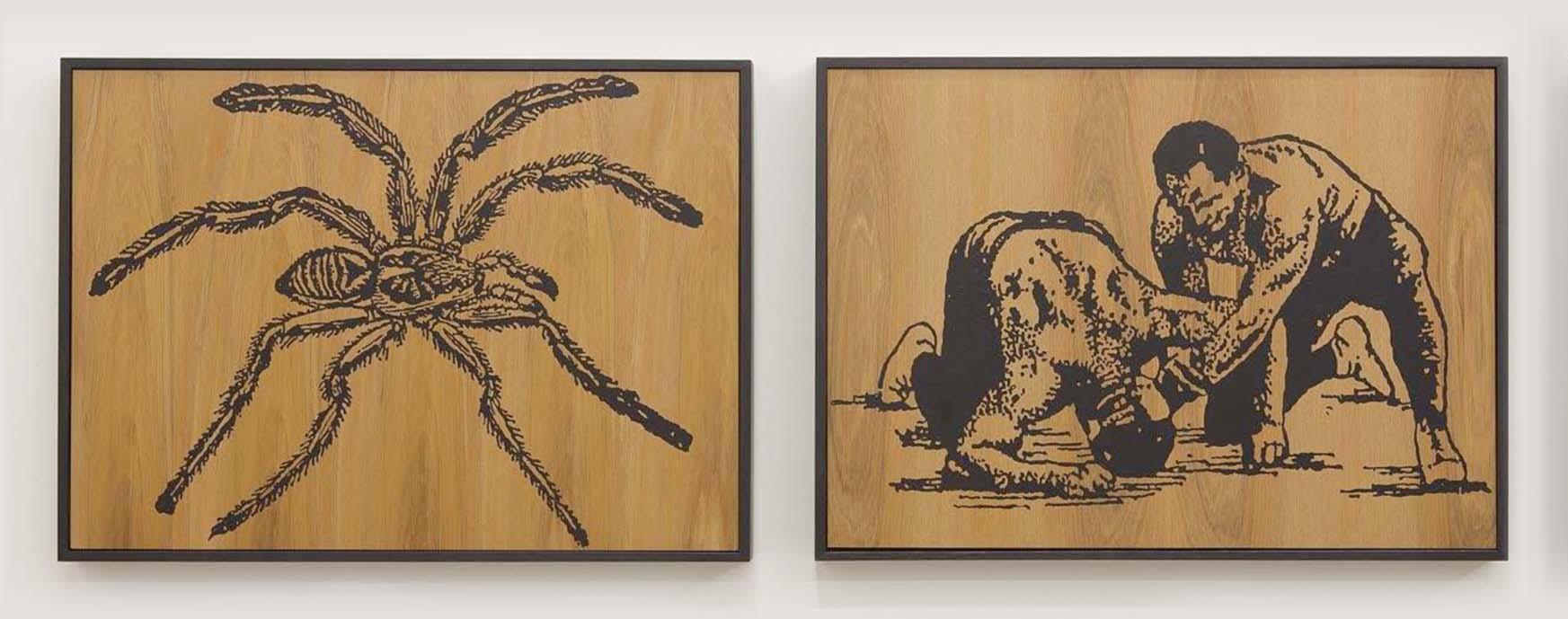 Wayne Youle  When Fear Takes Hold, 2012 Fluid acrylic on rimu (diptych) 450 x 590 mm each  _______