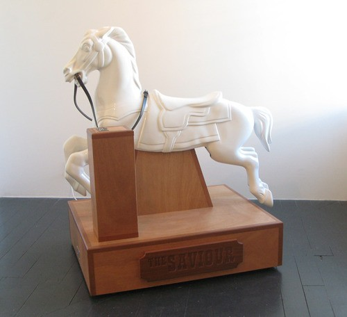 Wayne Youle  The Saviour , 2012 Fiberglass, mahogany, leather & ply 1300 x 800 x 1300 mm [Christchurch Art Gallery Collection] _______