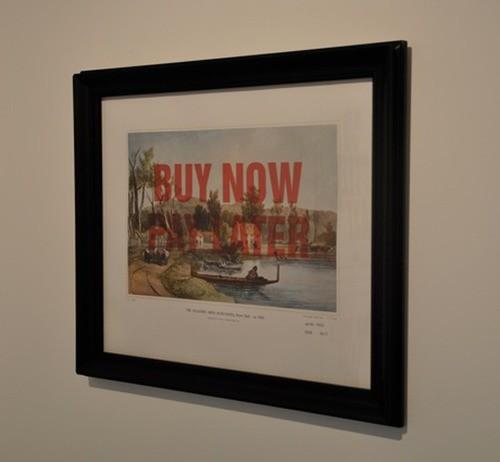 Wayne Youle  Sale, Sell, Buy, Bought , 2010 Framed inkjet print over Samuel Brees print  _______