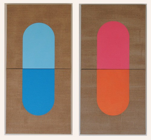 Wayne Youle  Stiffy & Sleepy , 2010 (diptych) Oil on linen Each 600 x 300 mm [Private collection]  _______