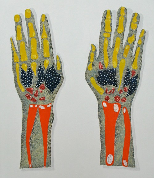 Arie Hellendoorn  Hands , 2011 Acrylic on Linen 760 x 660 mm [Private collection]   _______