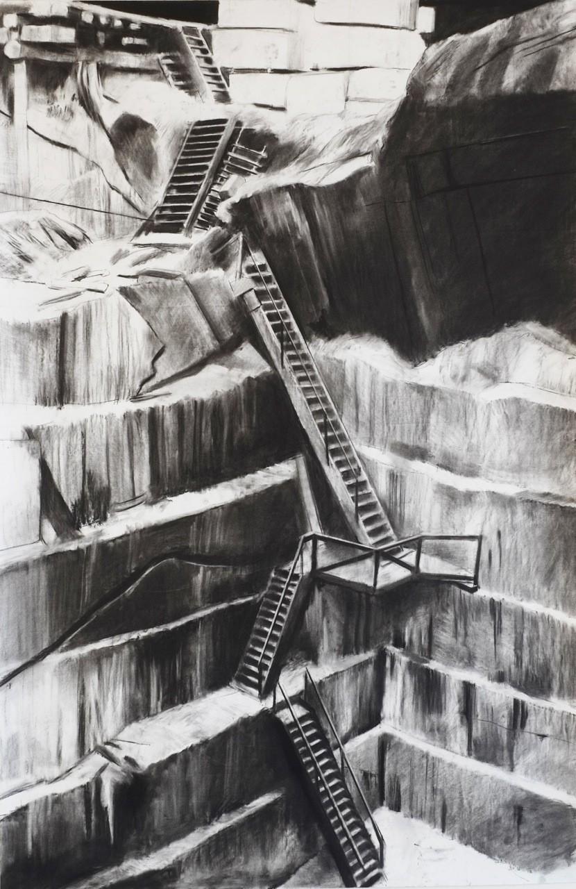 Douglas Stichbury  Quarry , 2014 Charcoal on paper 1500 x 800 mm  _______