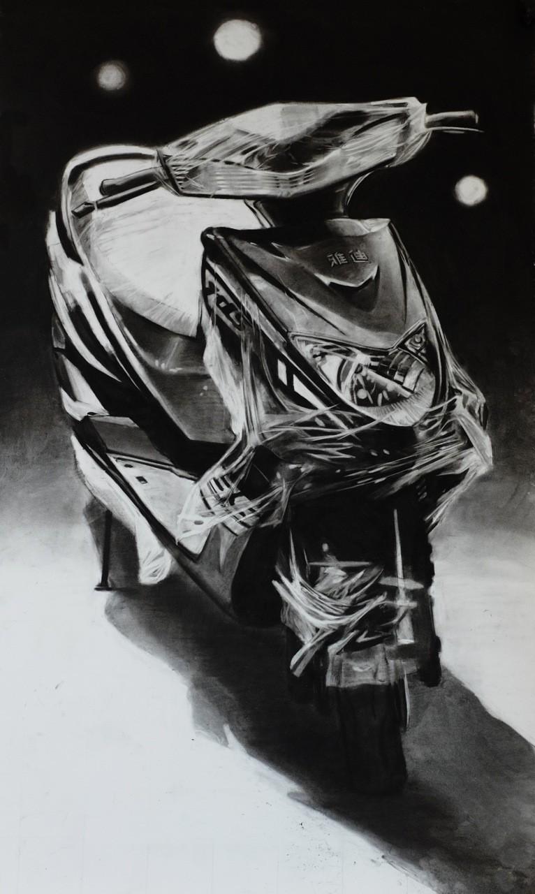 Douglas Stichbury  No Visitor , 2014 Charcoal on paper 1500 x 800 mm  _______