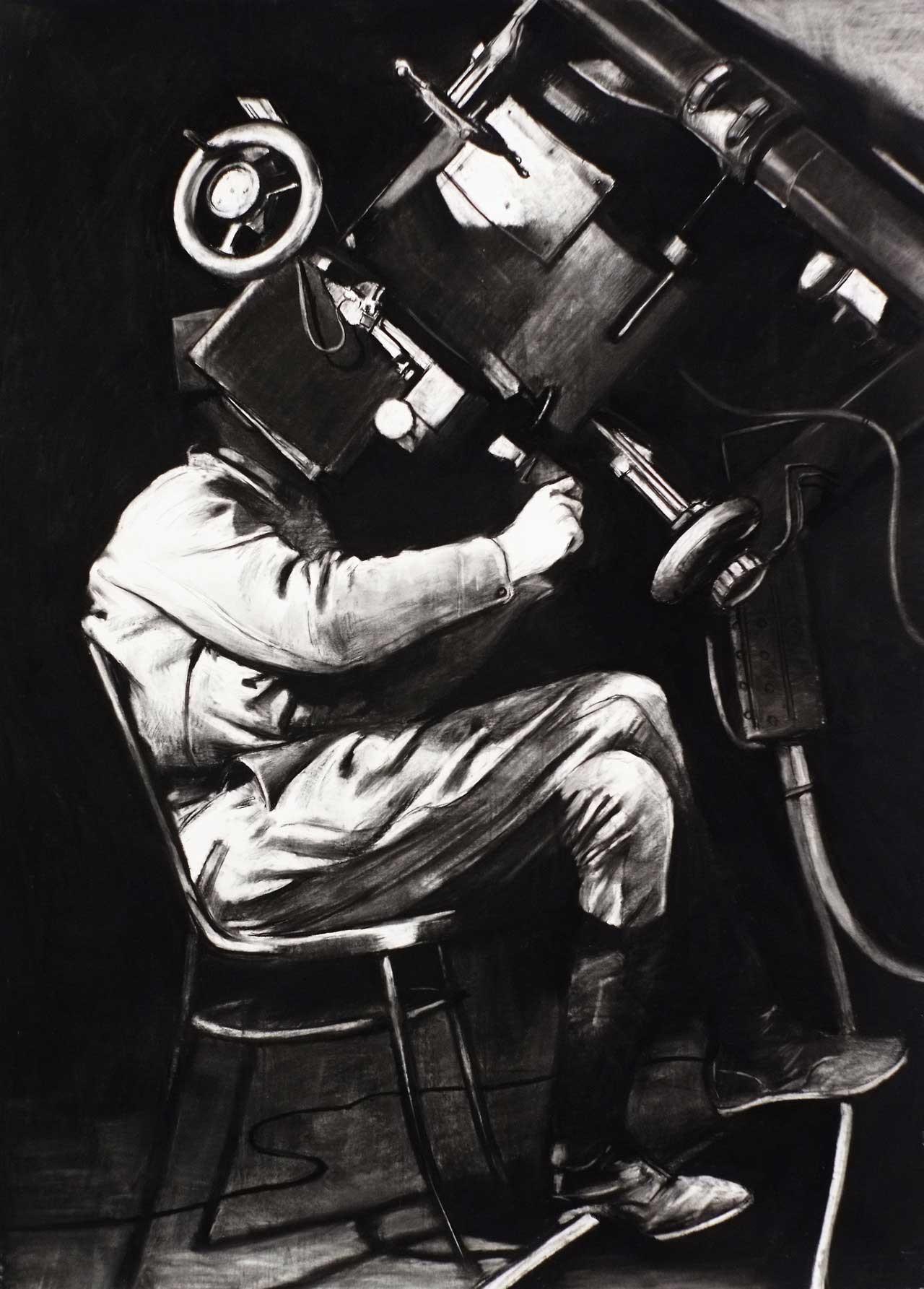 Douglas Stichbury  Observer , 2014 Charcoal on paper 1500 x 1200 mm [Winner - Parkin Drawing Prize 2014]  _______