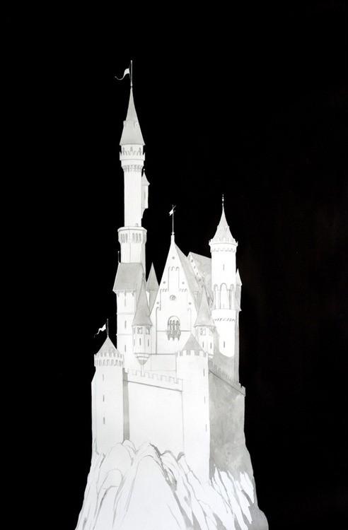 Douglas Stichbury  Wagner/Neuschwanstein/Cinderella , 2012 Ink, gouache, pencil and pen on paper 1189 x 841 mm  _______