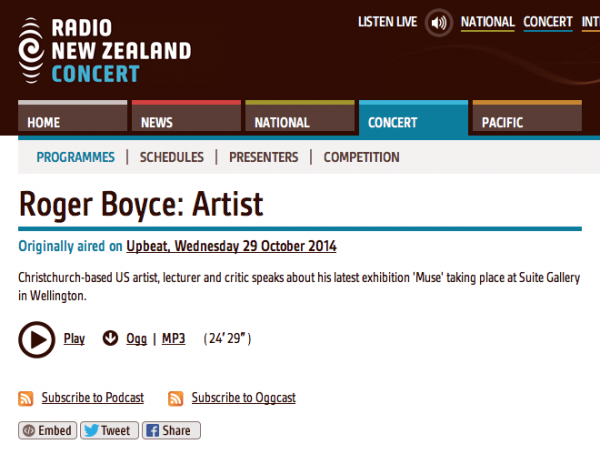 Roger Boyce     Interview with Eva Radich on Radio New Zealand Concert