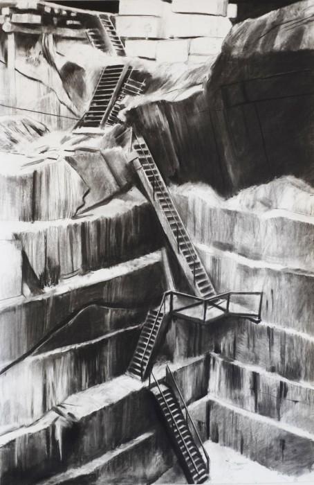 Douglas Stichbury The Quarry, 2014 Charcoal on paper 1500 x 800 mm  _______