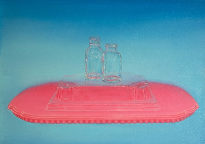 Emily Hartley-Skudder  Transparencies with Pink and Turquoise, 2014 Oil on calico 225 x 335 mm [Private Collection]  _______