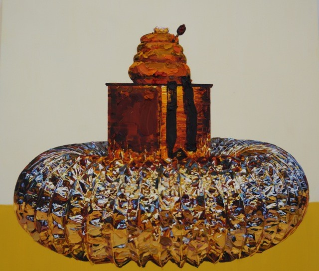 Grace Crothall  Foil arrangement with mustard and cream , 2014 Oil on cradled board 650 x 650 mm [Private Collection]  _______