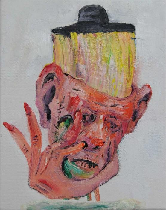 Rob McLeod  Blocking goochi lies , 2014 Oil on canvas 250 x 200 mm  _______