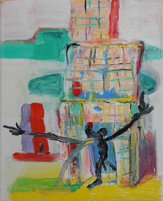 Rob McLeod  Life in the hi-rise , 2014 Oil on canvas 250 x 200 mm   _______
