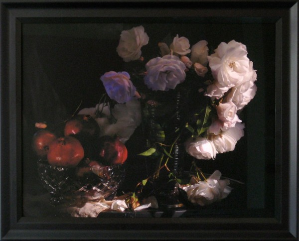 Fiona Pardington  Still Life with Wild White Roses, Photographic Beaker and Pomegranates  in a cut Crystal Bowl,  2013 Framed inkjet print on Epson hot press natural 310 gsm cotton rag Dimensions variable   _______