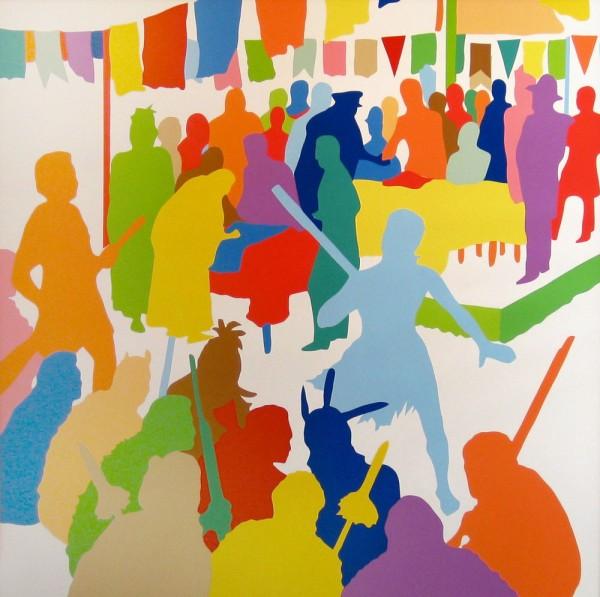 Wayne Youle  The Great Scramble , 2014 Acrylic on board 1200 x 1200 mm  _______