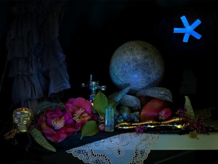 Fiona Pardington  Still Life with Moon, Moon-Charged Crystal and Skull Candle, from the Colin McCahon Residency , 2013 Inkjet print on Epson hot press 310 gsm cotton rag Dimensions variable Edition of 10   _______