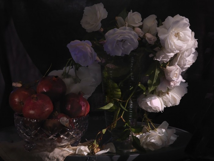 Fiona Pardington  Still Life with Wild White Roses, Photographic Beaker and Pomegranates in a cut Crystal Bowl , 2013 Inkjet print on Epson hot press 310 gsm cotton rag Dimensions variable Edition of 10   _______