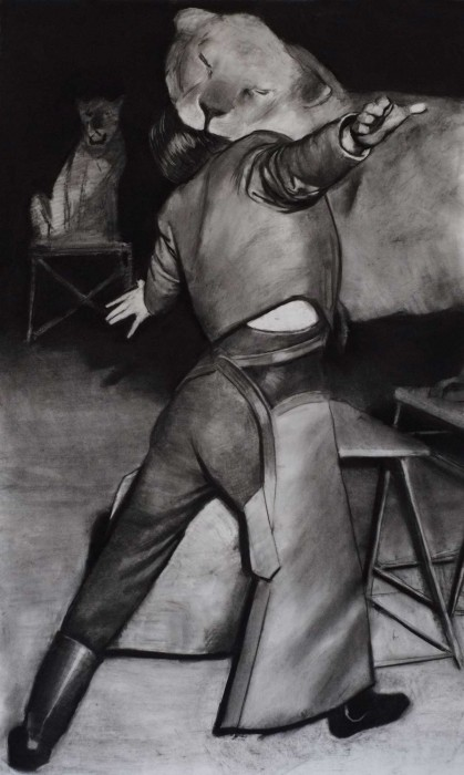 Douglas Stichbury  Lion Tamer , 2013 Charcoal on paper 1500 x 900 mm [Private collection]   _______