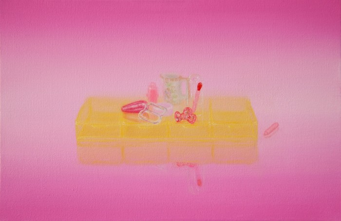 Emily Hartley-Skudder  Arrangement with Yellow on Pink , 2013 Oil on calico 188 x 285 mm   _______