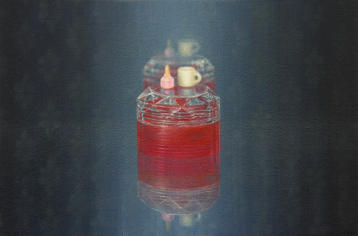 Emily Hartley-Skudder  Canister with Mug and Polish , 2013 Oil on calico 152 x 228 mm   _______