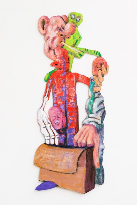 Rob McLeod  Richter Robot With Small Man , 2012 Oil on plywood 730 x 290 mm  _______