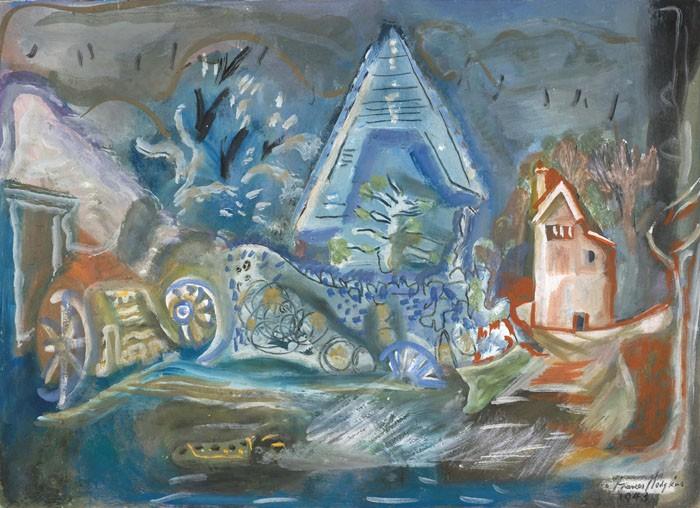 Frances Hodgkins  Tithe Barn, Cerne Abbas , 1943 Gouache and pencil 485 x 700 mm  _______