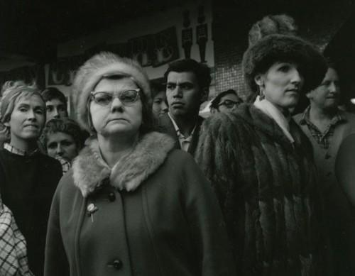Ans Westra  Watching Miss NZ Contestants, Cuba Mall, Wellington, 1971 Silver gelatin print 230 x 280 mm  _______