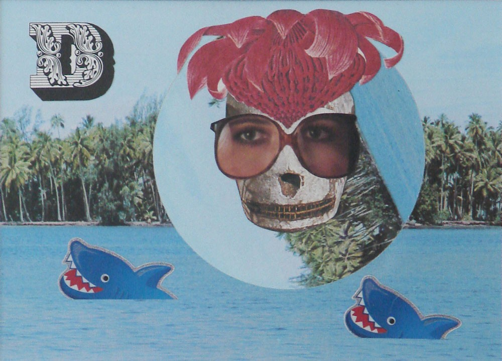 Wayne Youle  Shark swimming (missing you) , 2012 Found images and stickers 115 x 160 mm  _______