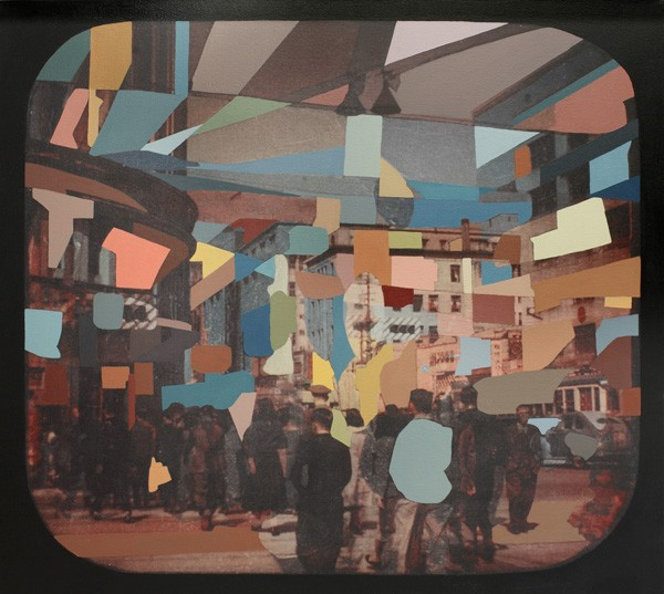 Adrienne Millwood  Tokyo , 2013 Oil andprint on canvas 1152 x 1295 mm [Private collection]  _______