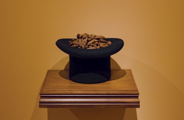 Wayne Youle  OK...Who soiled my property? , 2012 Sculpted paper and woolen top hat, timber  _______