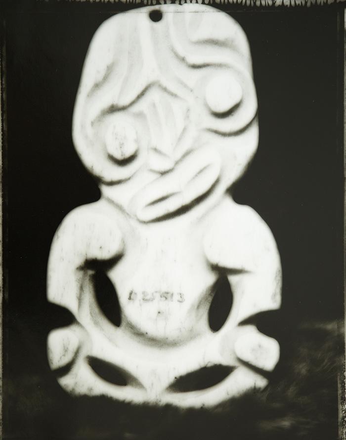 Fiona Pardington  Sad Fake Bone Heitiki, Otago Museum , 2007 Toned silver bromide fibre based print 600 x 500 mm [Private Collection]  _______