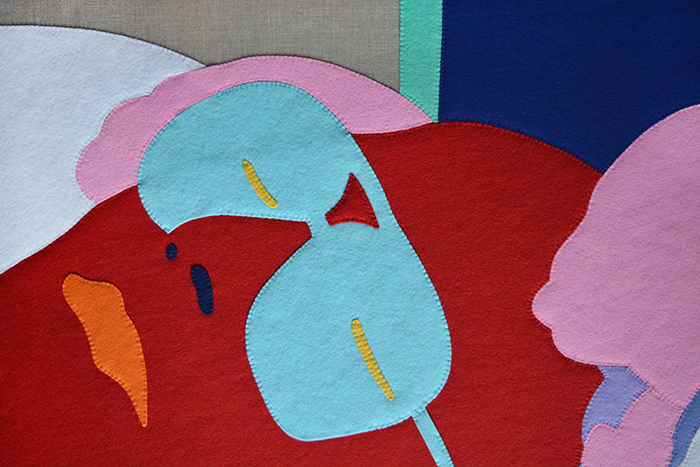 Wayne Youle  Sleeping Dad , (detail) 2015 Hand sewn acrylic felt on Belgian linen 1830 x 1220 mm  _______