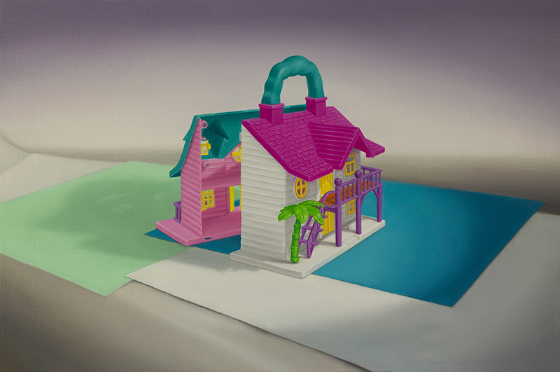 Emily Hartley-Skudder  Happy Hours 2 in 1 Luxury Cottage (Clip Together for 1 or Separate To Make Your Own Neighbourhood) , 2015 Oil on linen 330 x 500 mm [Private collection]  _______
