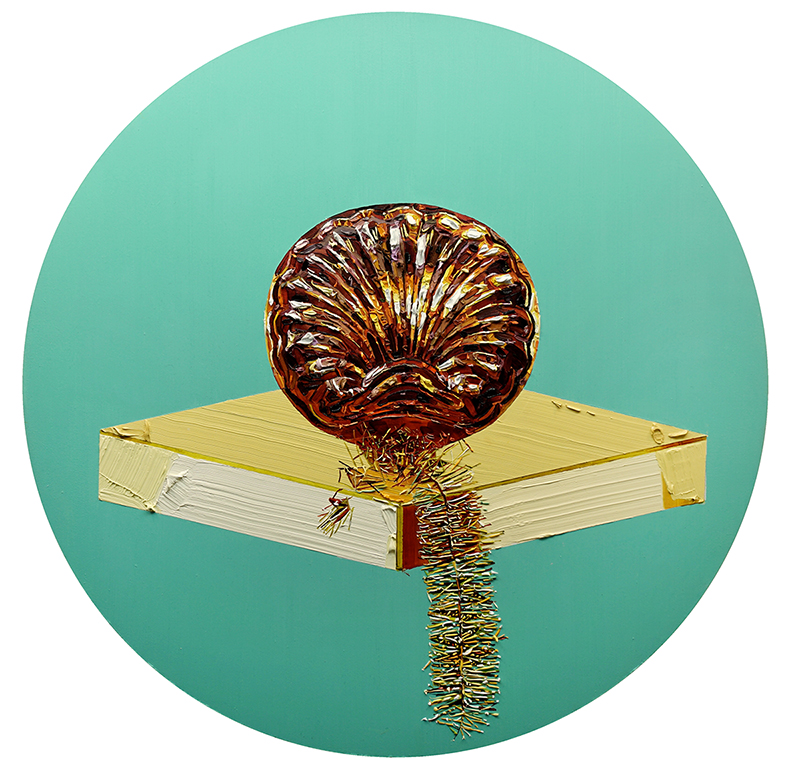Grace Crothall  Copper Clam , 2015 Oil on board 650 mm diameter [Private collection]  _______