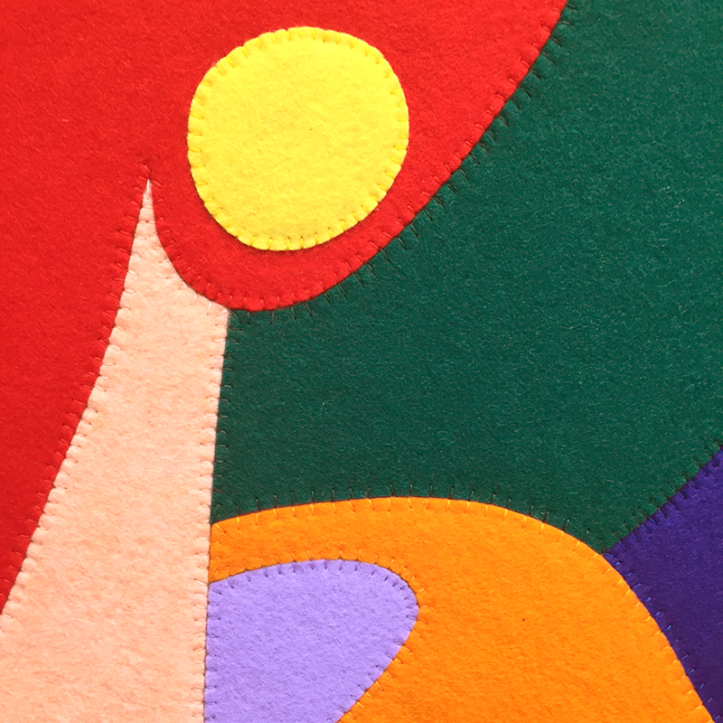 Wayne Youle  Bedfellow , 2015 (detail) Hand sewn felt on Belgian linen 1015 x 1015 mm [Private collection]  _______