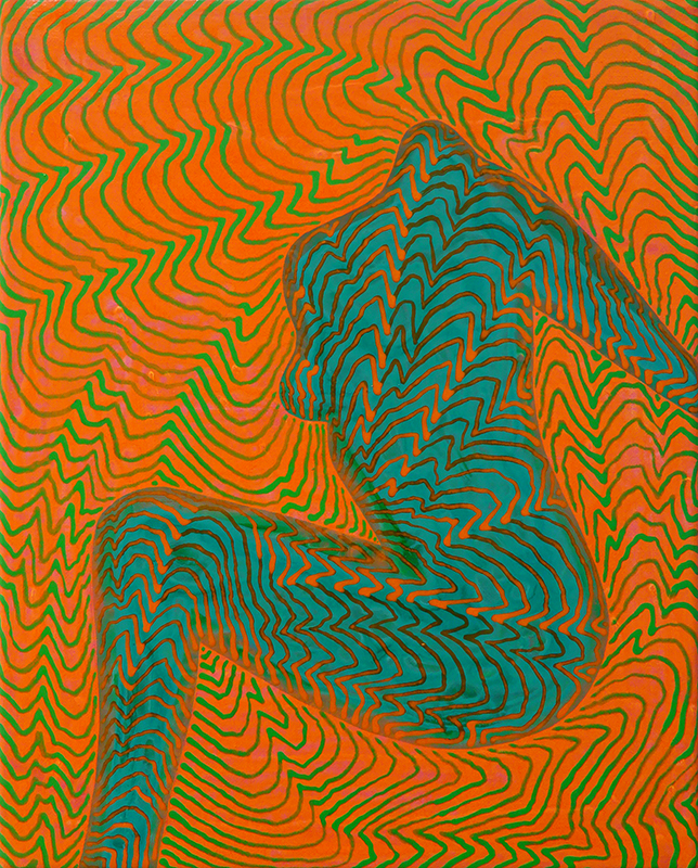 Arie Hellendoorn  Green Figure , 2015 Acrylic on linen 250 x 200 mm  _______