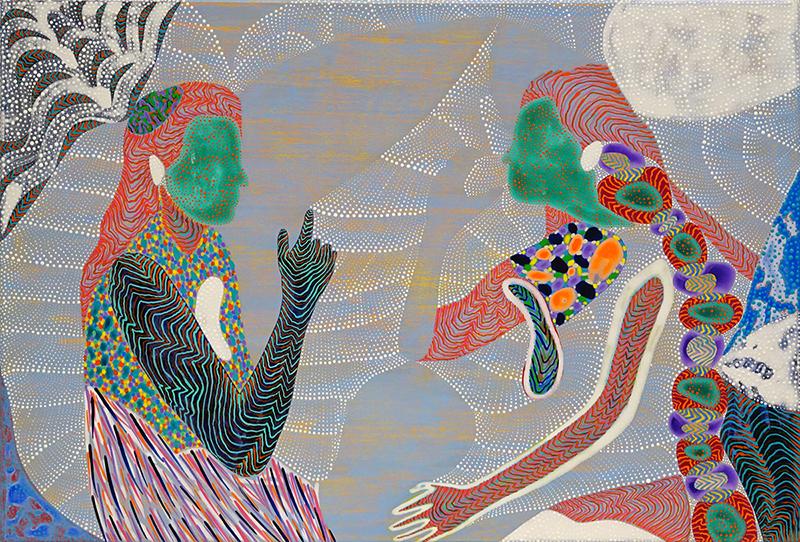 Arie Hellendoorn  But Gauguin said , 2016 Acrylic on linen 375 x 550 mm  _______