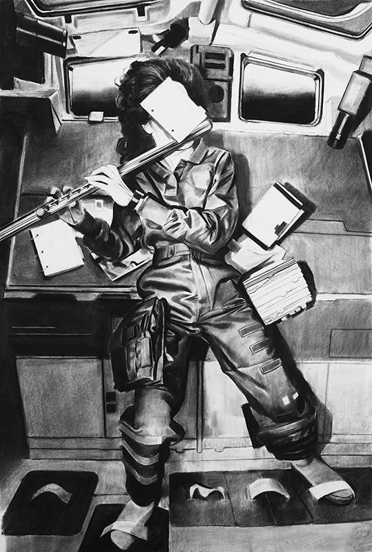 Douglas Stichbury  1993 , 2016 Framed charcoal on paper 1190 x 800 mm  _______