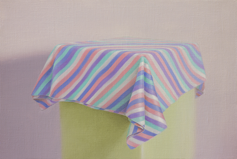 Emily Hartley-Skudder  Lady Paige Tablecloth , 2016 Oil on linen 185 x 280 mm [Private collection]  _______