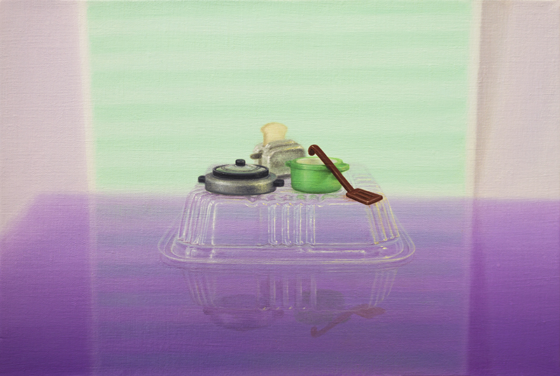 Emily Hartley-Skudder  Still Life with Kitchenware , 2016 Oil on linen 185 x 280 mm [Private collection]  _______