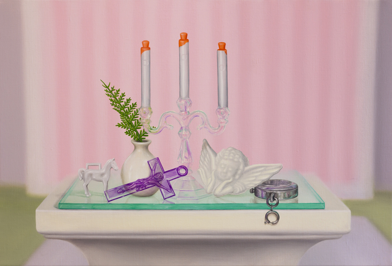 Emily Hartley-Skudder  Centrepiece with Candelabra and Violet Cross , 2016 Oil on linen 555 x 375 mm [Private collection]  _______