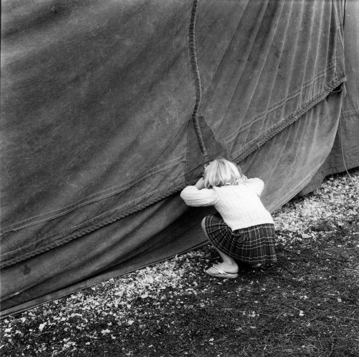 Ans Westra  From 'The Circus Comes to Town' , 1965 Framed vintage silver gelatin print 100 x 100 mm [Private Collection]  _______