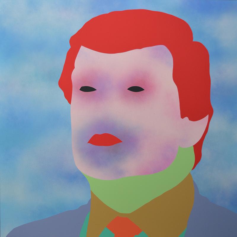 Wayne Youle  Bad Hair , 2016 Acrylic and enamel on board 900 x 900 mm [Donald J. Trump]  _______